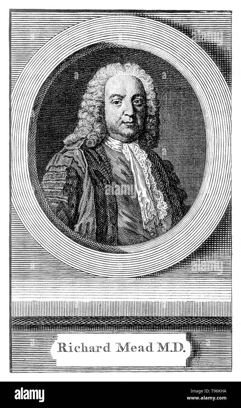 Richard Mead (August 11, 1673 - February 16, 1754) was an English physician. His Mechanical Account of Poisons appeared in 1702, and, in 1703, he was admitted to the Royal Society. He attended Queen Anne on her deathbed, and in 1727 was appointed physician to George II. While in the service of the king, Mead got involved in the creation of a new charity, the Foundling Hospital, both as a founding governor and as an advisor on all things medical. the Foundling was equipped with both a sick room and a pharmacy. He is even supposed to have influenced the architect, Theodore Jacobsen, into incorpo - Stock Image
