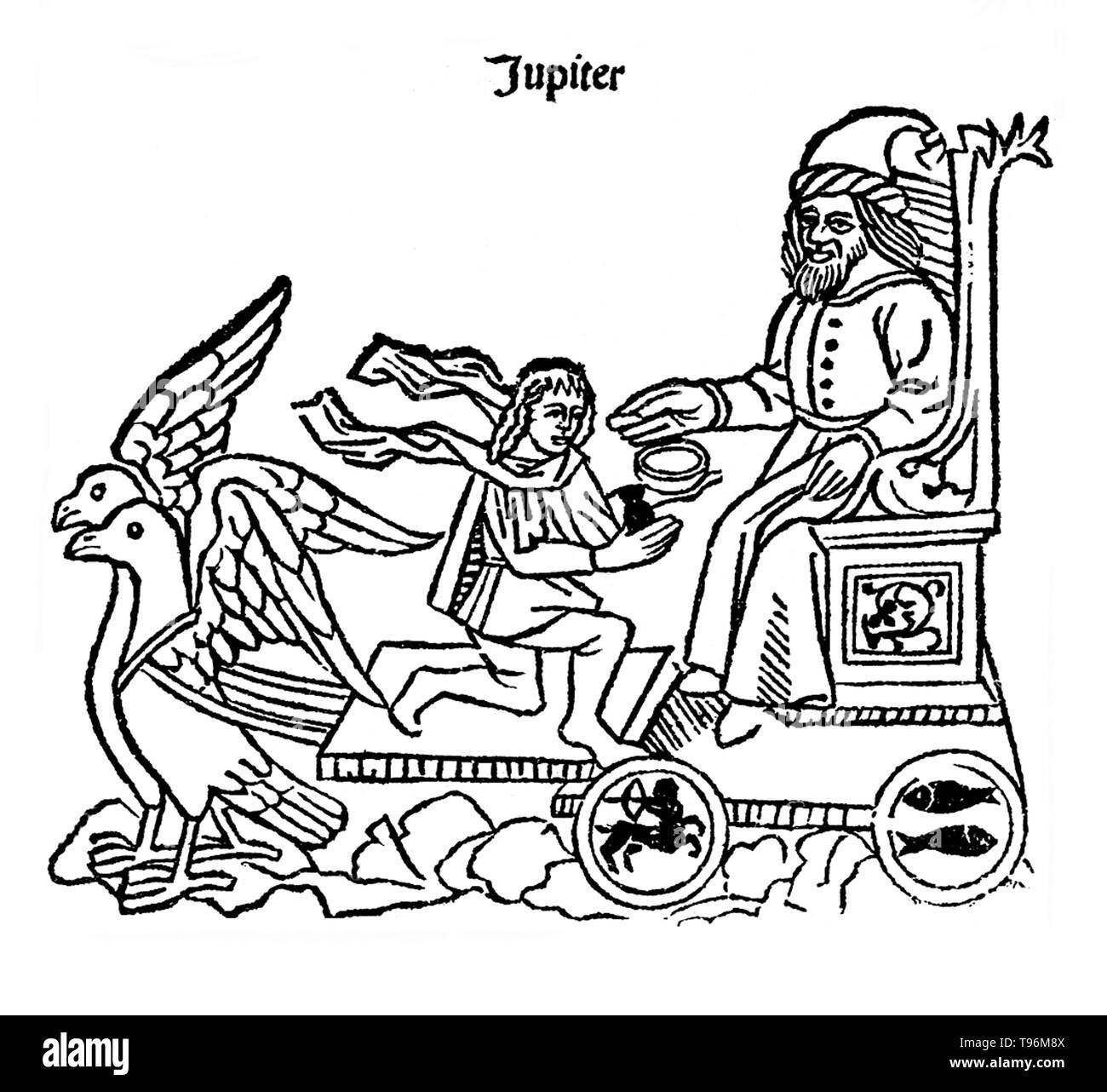 Jupiter in his chariot, drawn by a pair of eagles. In ancient Roman religion and myth, Jupiter or Jove is the king of the gods and the god of sky and thunder. Jupiter was the chief deity of Roman state religion throughout the Republican and Imperial eras, until Christianity became the dominant religion of the Empire. He is usually thought to have originated as a sky god. His identifying implement is the thunderbolt, and his primary sacred animal is the eagle, which held precedence over other birds in the taking of auspices and became one of the most common symbols of the Roman army. The Romans - Stock Image