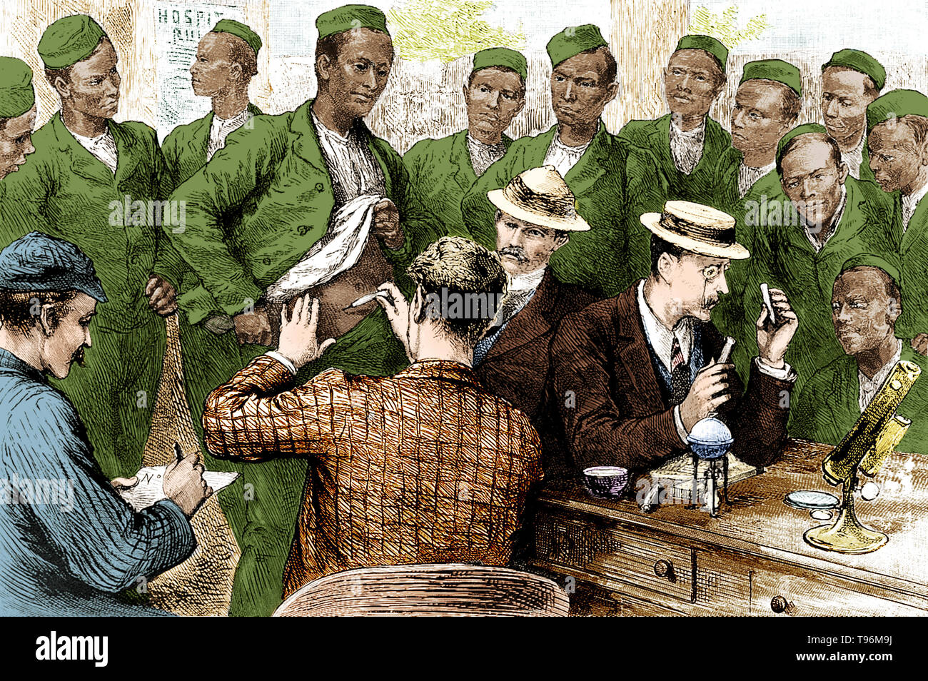 Cholera vaccination of the Third Gurkhas in India at the time of the 1893 epidemic.  The fifth cholera pandemic (1881-1896) cost 250,000 lives in Europe and at least 50,000 in the Americas. Cholera claimed 267,890 lives in Russia (1892); 120,000 in Spain; 90,000 in Japan and over 60,000 in Persia. In Egypt, cholera claimed more than 58,000 lives. The 1892 outbreak in Hamburg killed 8,600 people. Although the city government was generally held responsible for the virulence of the epidemic, it went largely unchanged. This was the last serious European cholera outbreak, as cities improved their s - Stock Image