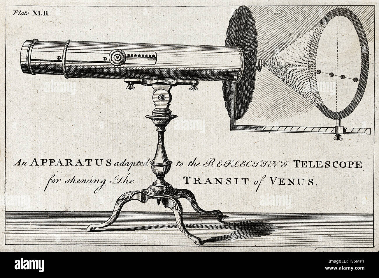 Engraving of a large reflecting telescope, and a projection of the transit of Venus. This diagram, entitled 'An Apparatus adapted to the Reflecting Telescope for shewing The Transit of Venus', appeared in Benjamin Martin's 'The Young Gentleman and Lady's Philosophy', published between 1755 and 1763 in the General Magazine and aimed at explaining astronomical principles to amateur astronomers. Transits of Venus across the disk of the Sun are among the rarest of planetary alignments. Only eight such events have occurred since the invention of the telescope. A transit of Venus across the Sun take - Stock Image
