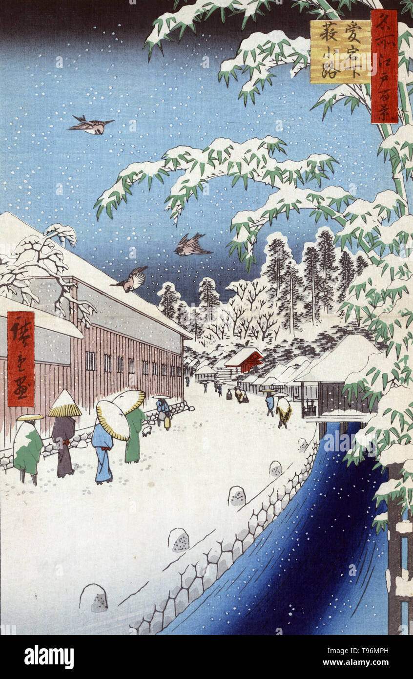 Atagoshita yabukoji. Atagoshita and Yabu lane. Pedestrians walking in the snow in a street alongside a canal below Mount Atago. Yabu Lane, residences of the daimyos Kato from Minakuchi and Hijikata from Komono, gate of Atago Shrine. Ukiyo-e (picture of the floating world) is a genre of Japanese art which flourished from the 17th through 19th centuries. Ukiyo-e was central to forming the West's perception of Japanese art in the late 19th century. The landscape genre has come to dominate Western perceptions of ukiyo-e. The Japanese landscape differed from the Western tradition in that it relied  - Stock Image