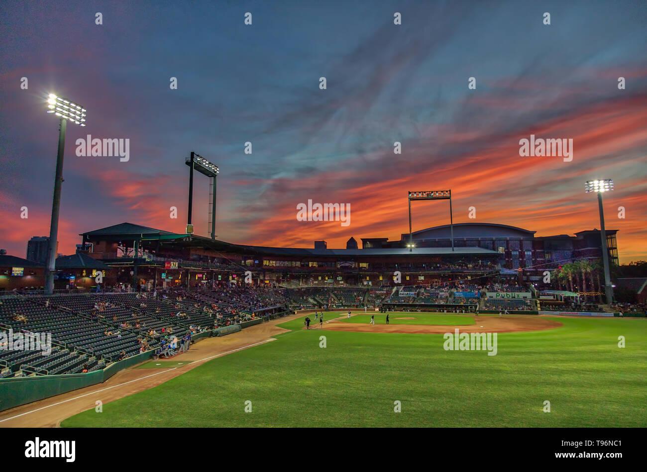 Baseball Grounds Sunset Stock Photo