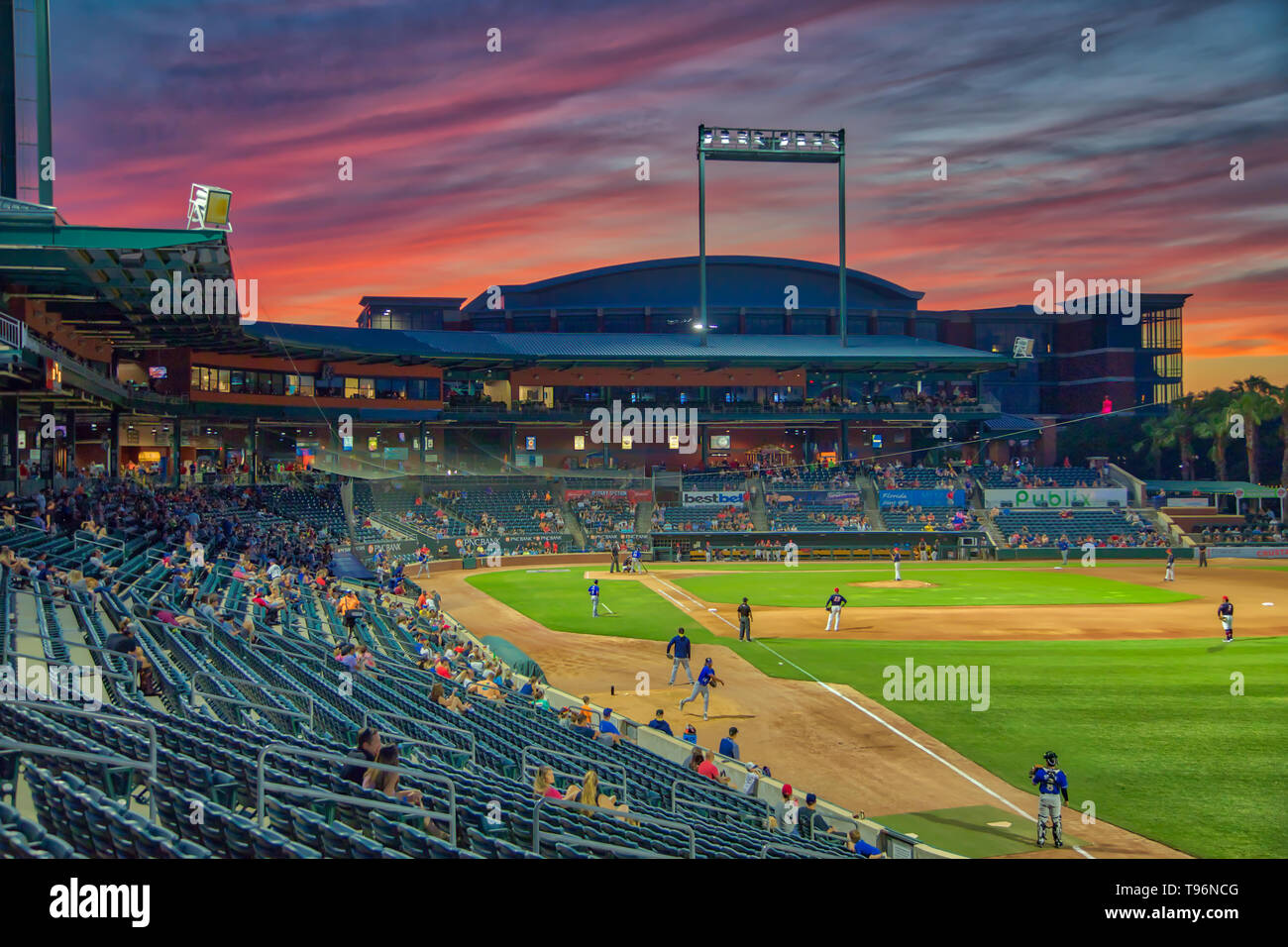 Baseball Grounds Sunset Stock Photo