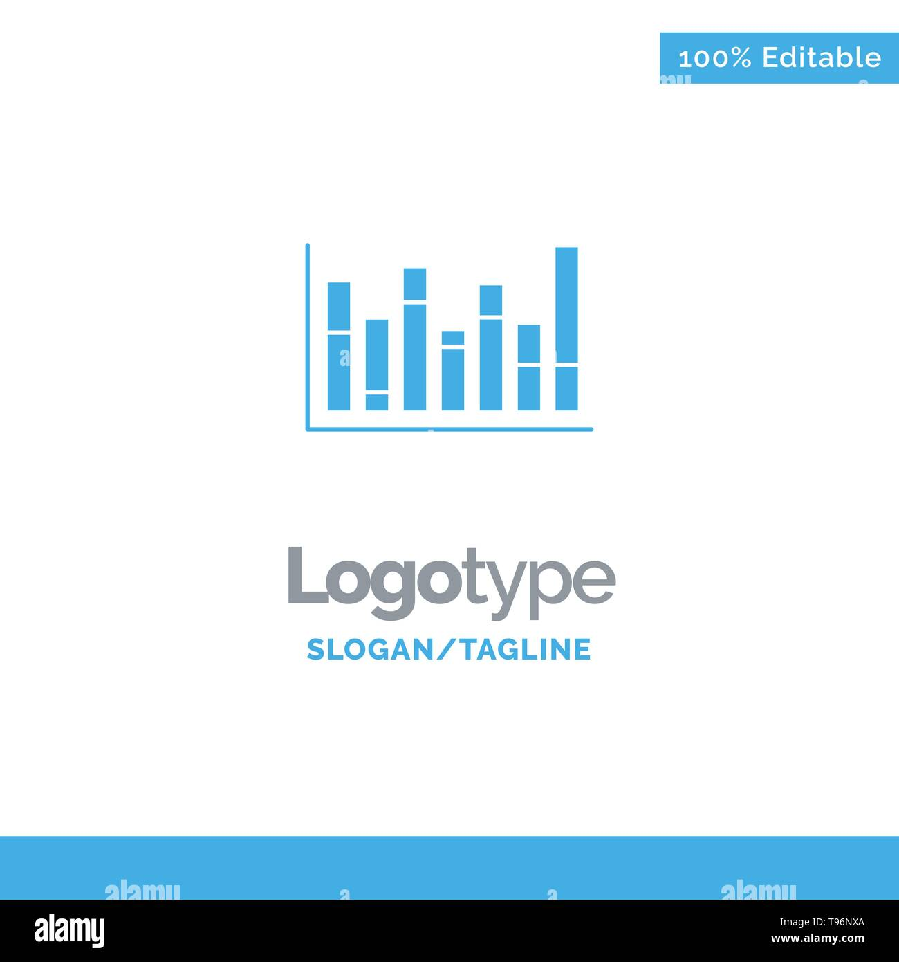 Graph, Line, Up, Down, Blue Solid Logo Template  Place for