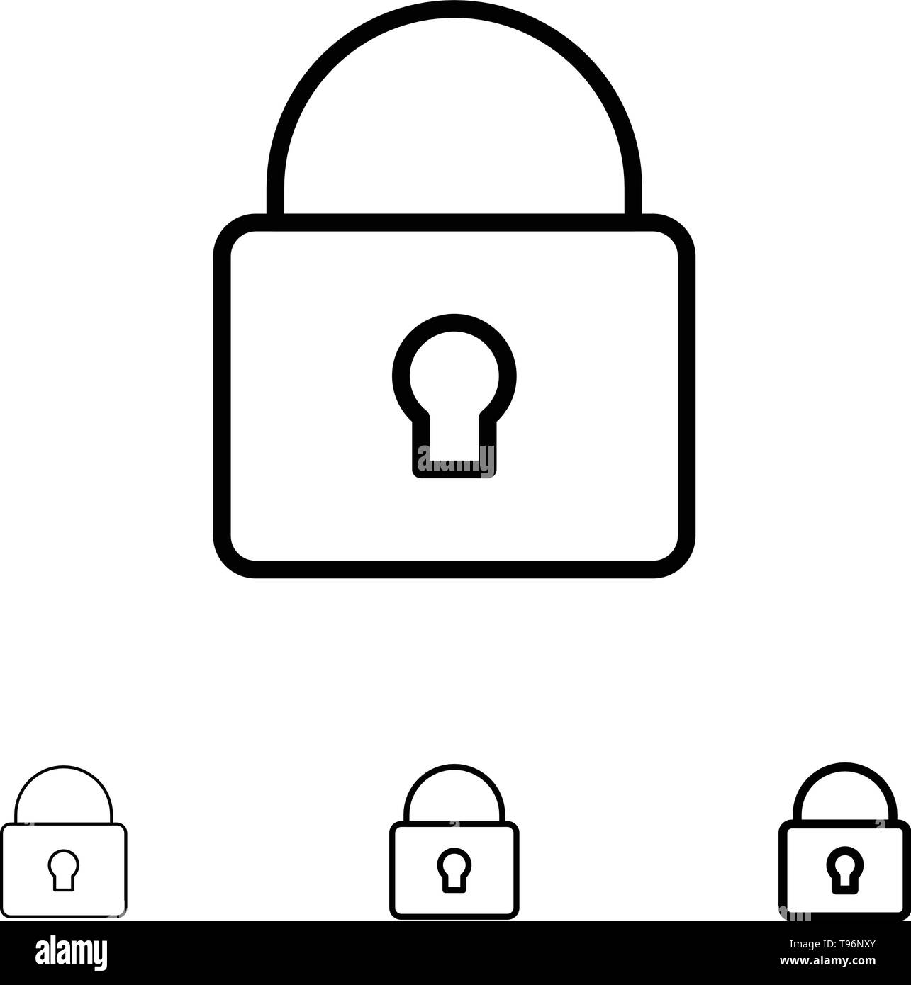 Lock, Security, Locked, Login Bold and thin black line icon set - Stock Image