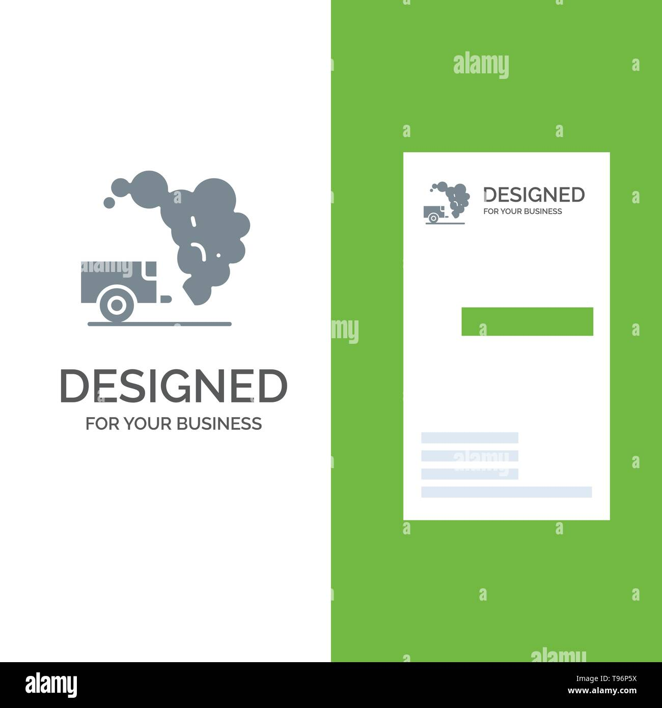 Dump, Environment, Garbage, Pollution Grey Logo Design and Business Card Template - Stock Vector