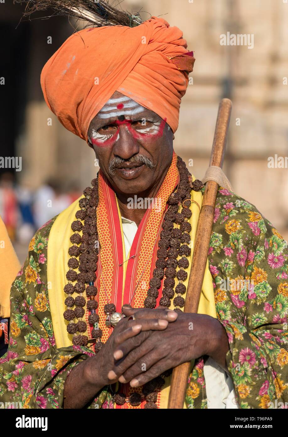 Portrait of a Sadhu holy man, Hampi, India - Stock Image