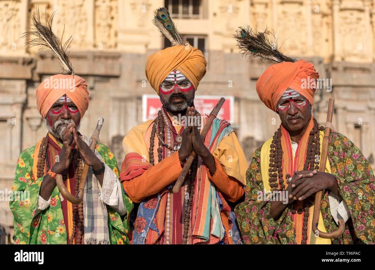 Portrait of three sadhus holy men, Hampi, India - Stock Image