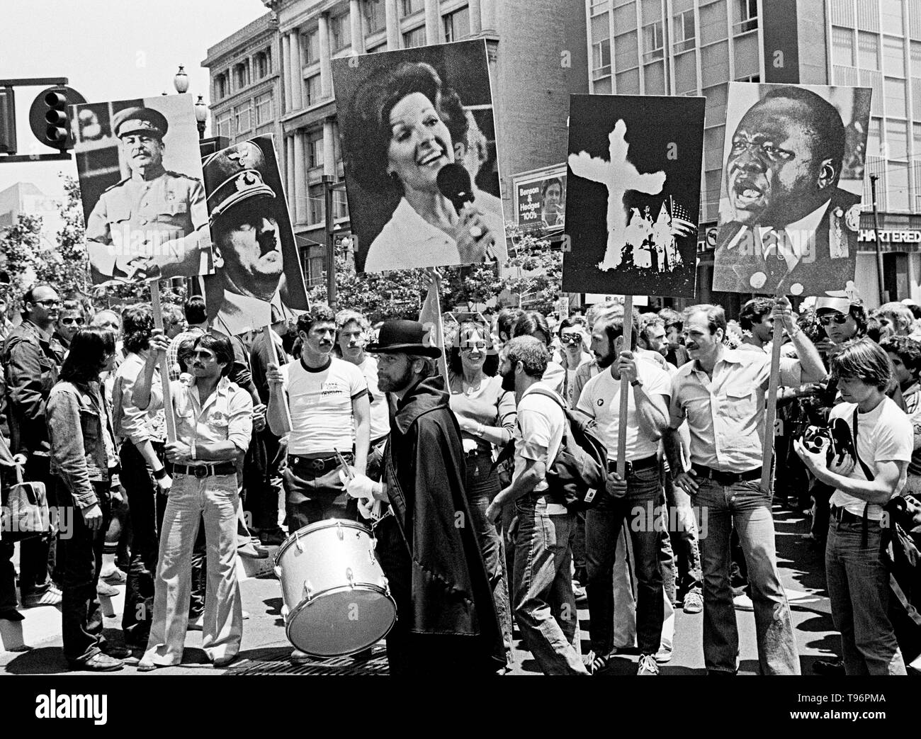 marchers carry signs in Gay Pride Parade in San Francisco, June 1977 - Stock Image