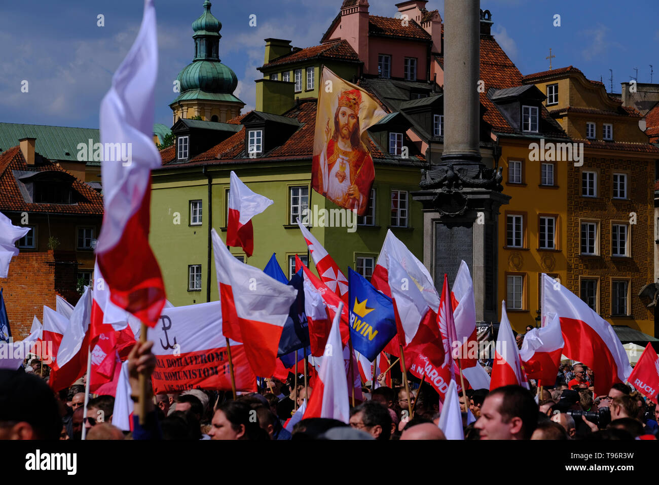 Anti EU demonstration organised by far right groups,  on the 15th aniversary of Poland joining the EU, 15 years ago Poland joined EU, Warsaw, Poland - Stock Image