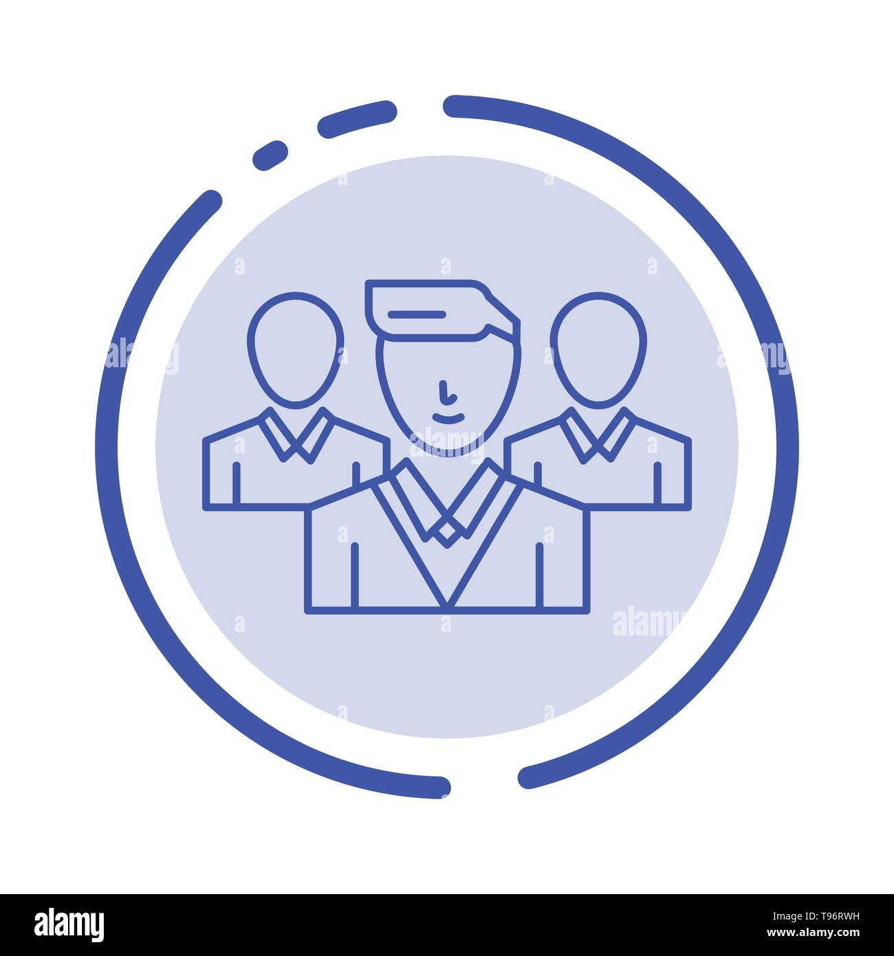 Staff, Security, Friend zone, Gang Blue Dotted Line Line Icon - Stock Image