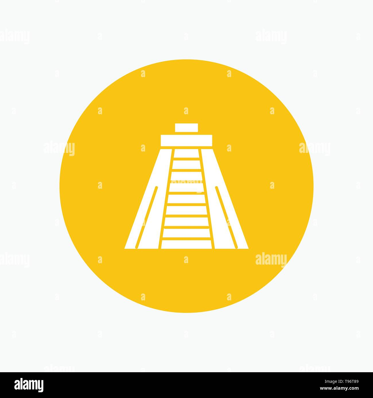 Chichen Itza, Landmark, Monument white glyph icon - Stock Image