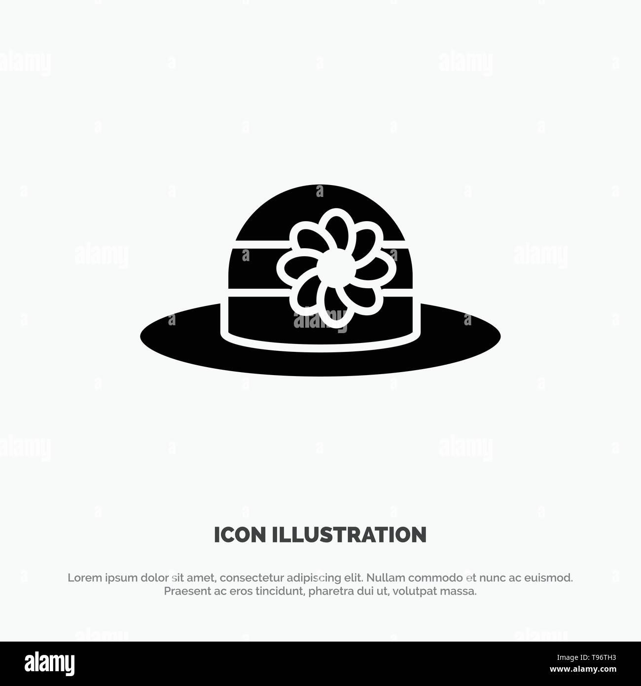 Beach, Hat, Cap solid Glyph Icon vector - Stock Image