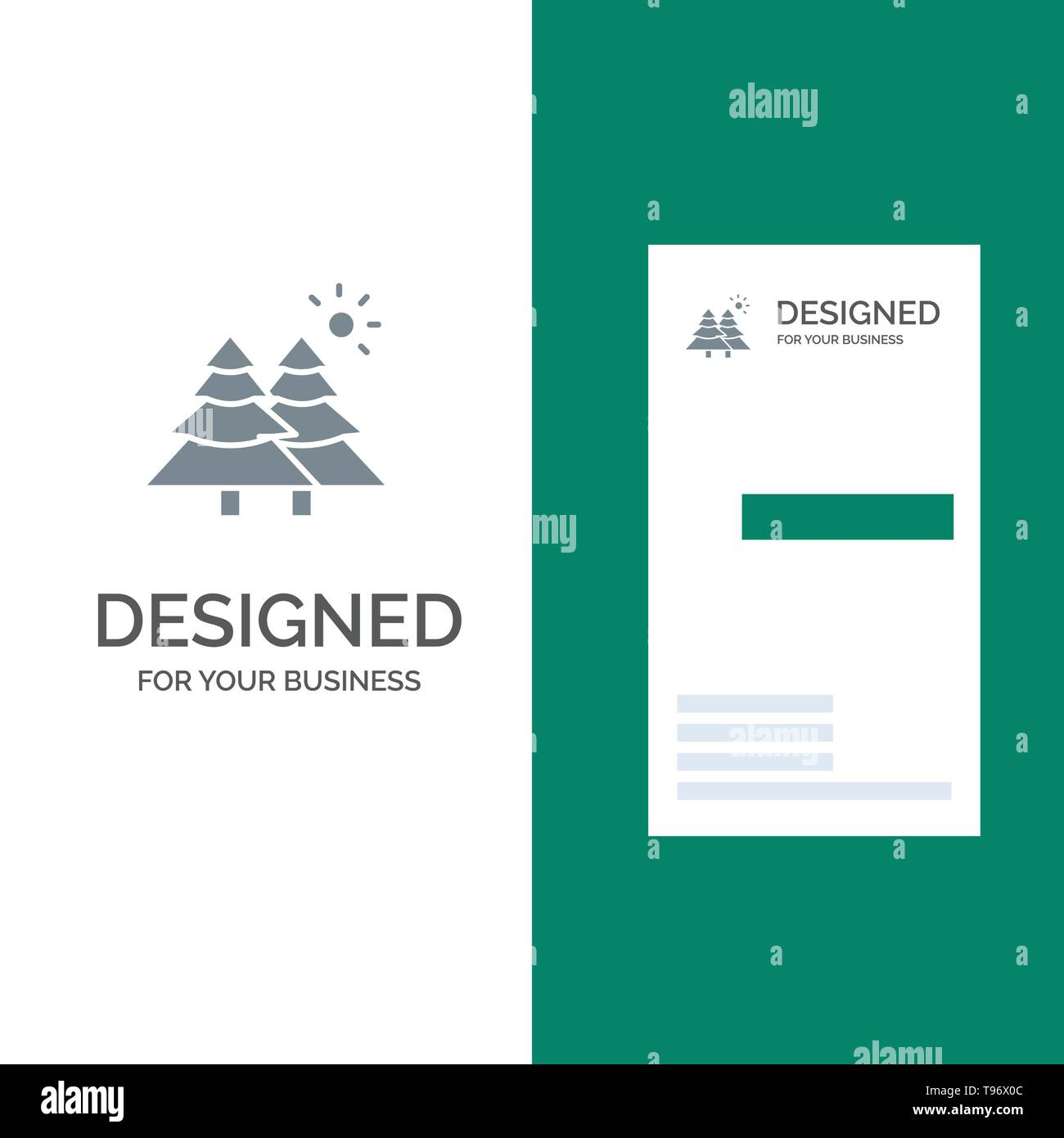 Fir, Forest, Nature, Trees Grey Logo Design and Business Card Template - Stock Image