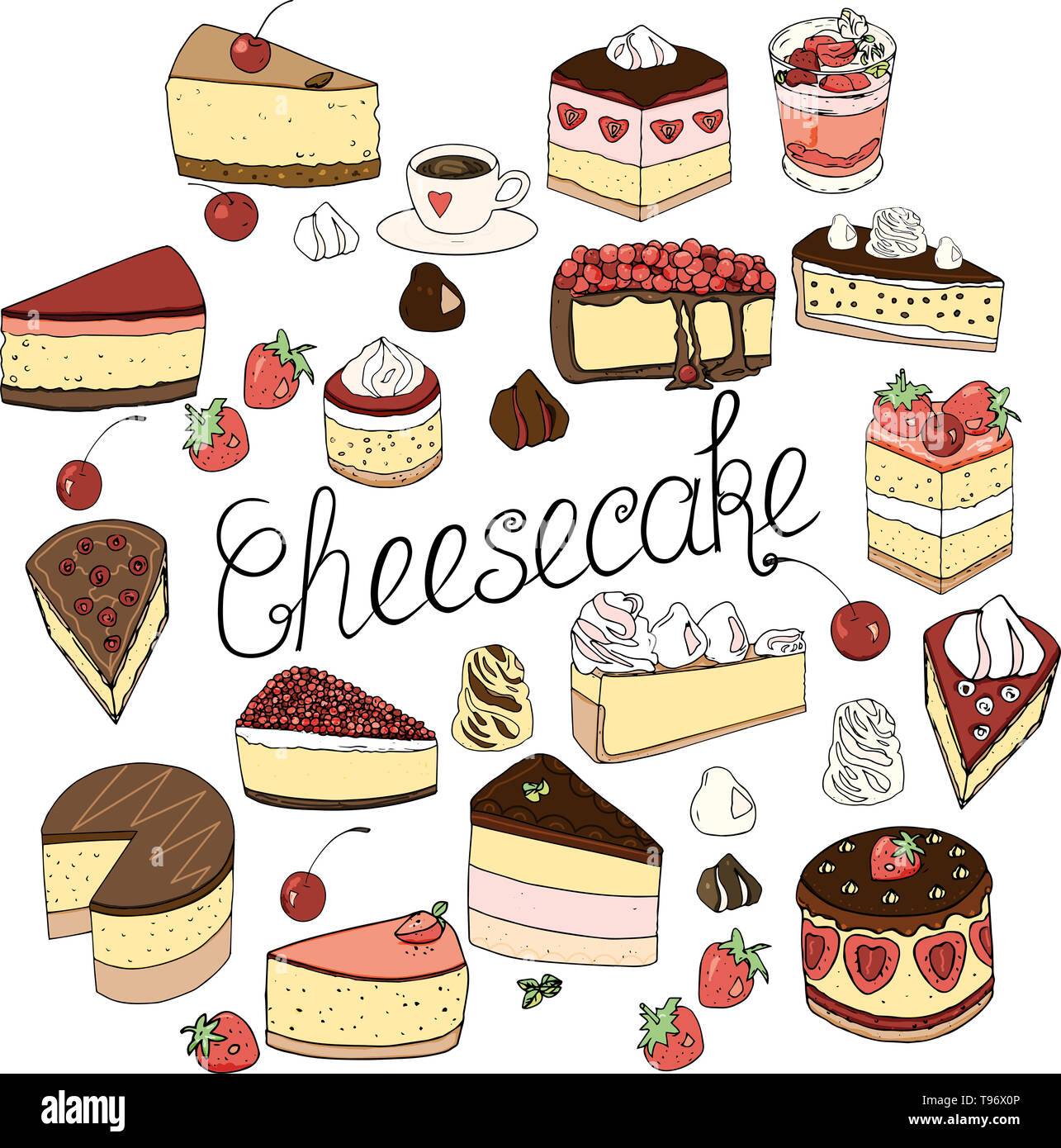 A set of cheesecake consists of elements of cakes and pastries, isolated doodle set design decoration and drawn by hand in the style of naive drawing. - Stock Image