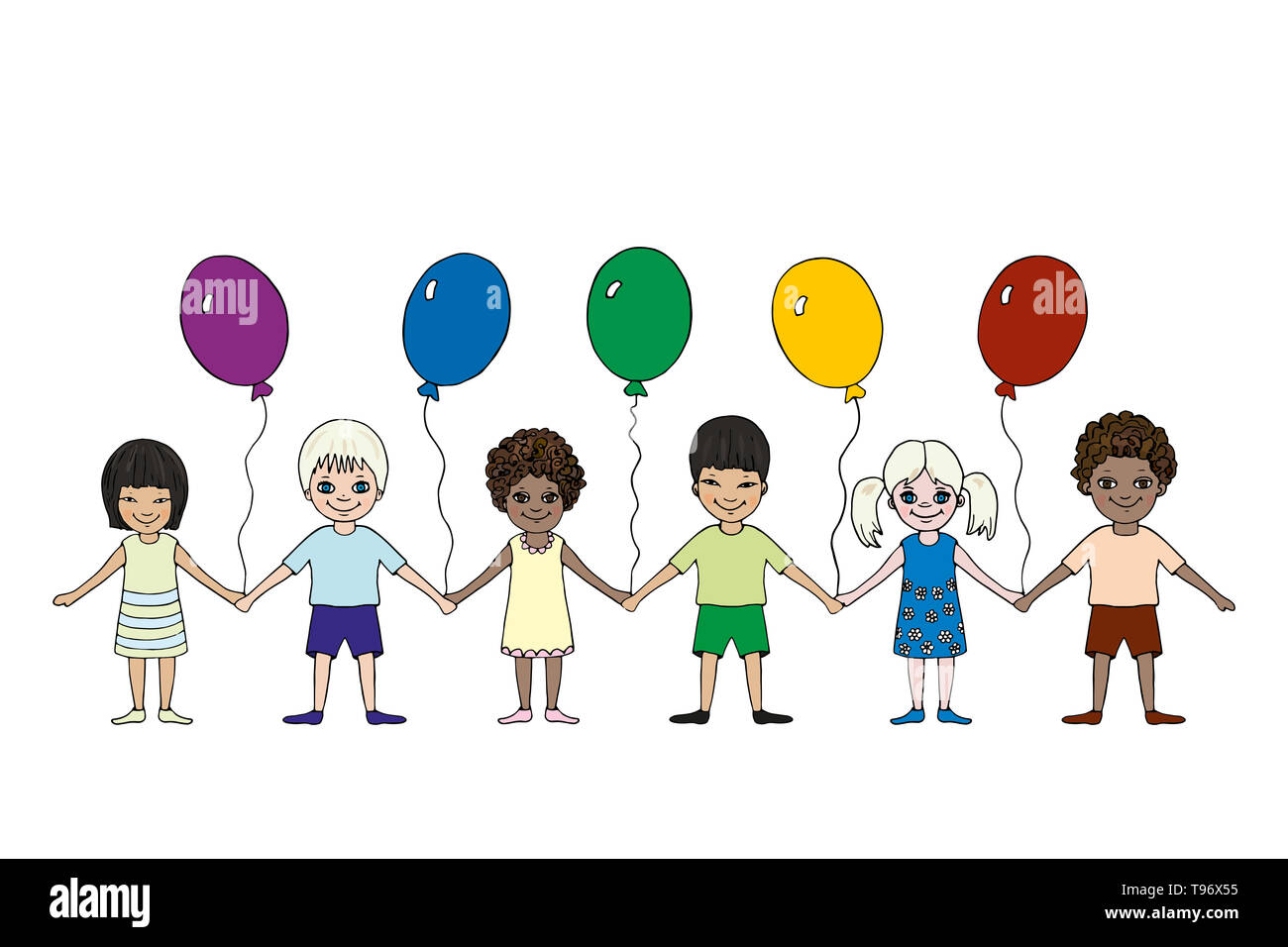 Happy little children of different races hold hands. International Children's Day. Hand drawn. Vector picture - Stock Image