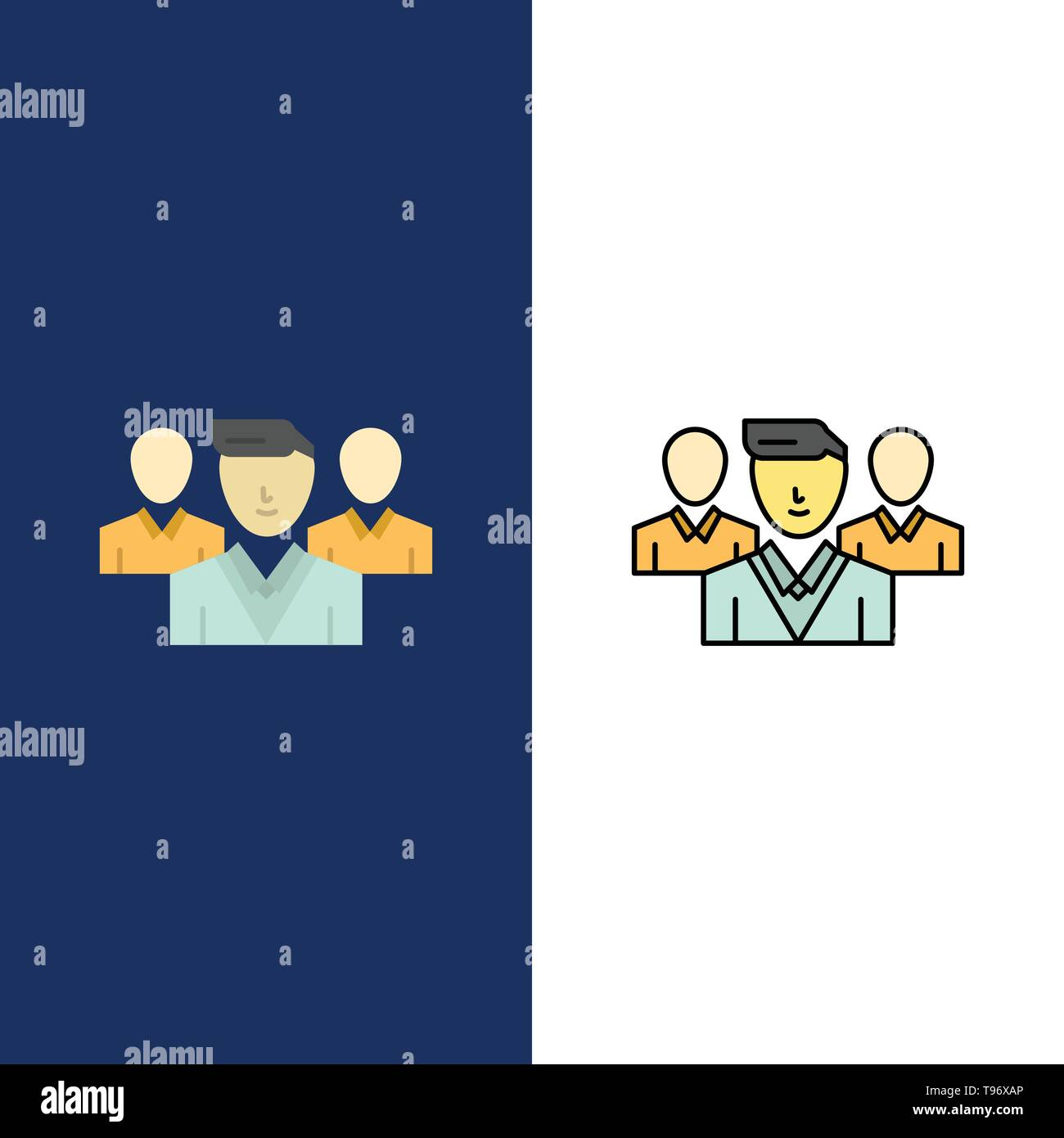 Staff, Security, Friend zone, Gang  Icons. Flat and Line Filled Icon Set Vector Blue Background - Stock Image