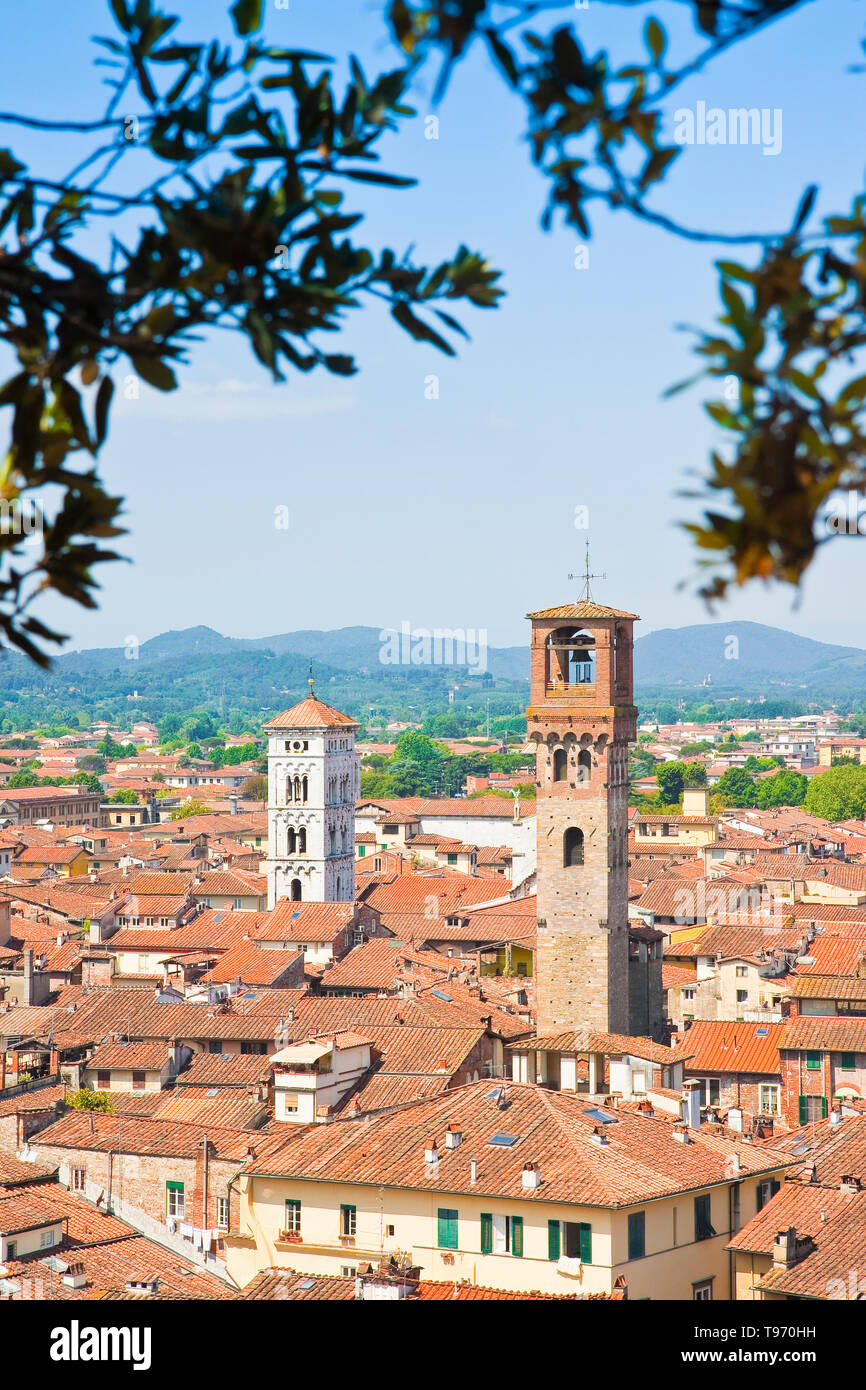 Panoramic view of Lucca seen from Guinigi tower - Stock Image