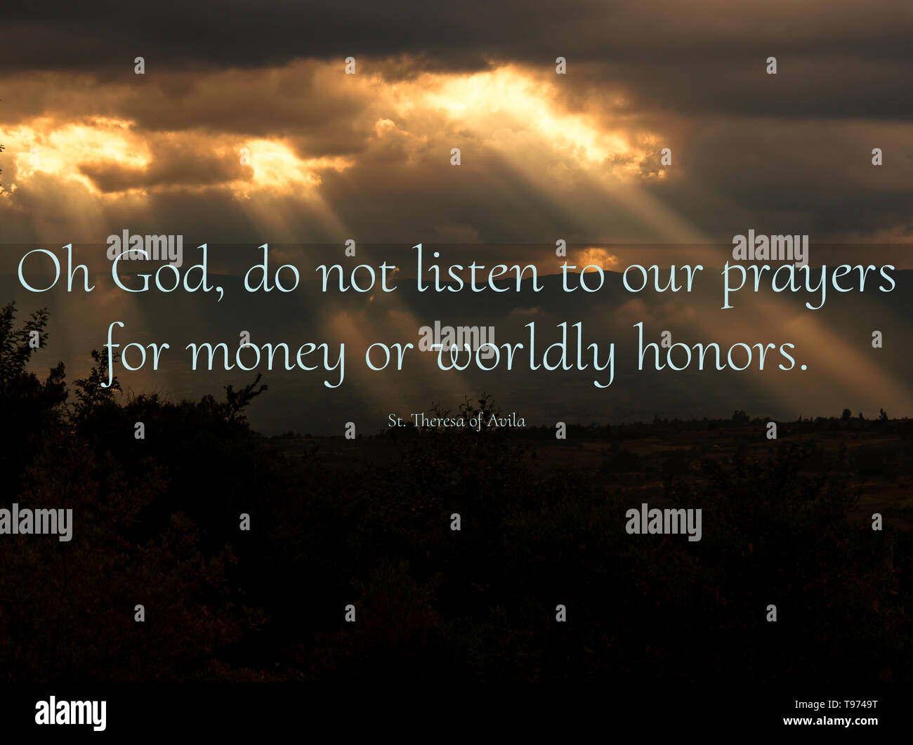 Deep and inspirational christian and catholic quotes and teachings from saints over beautiful images of God's creation. Stock Photo