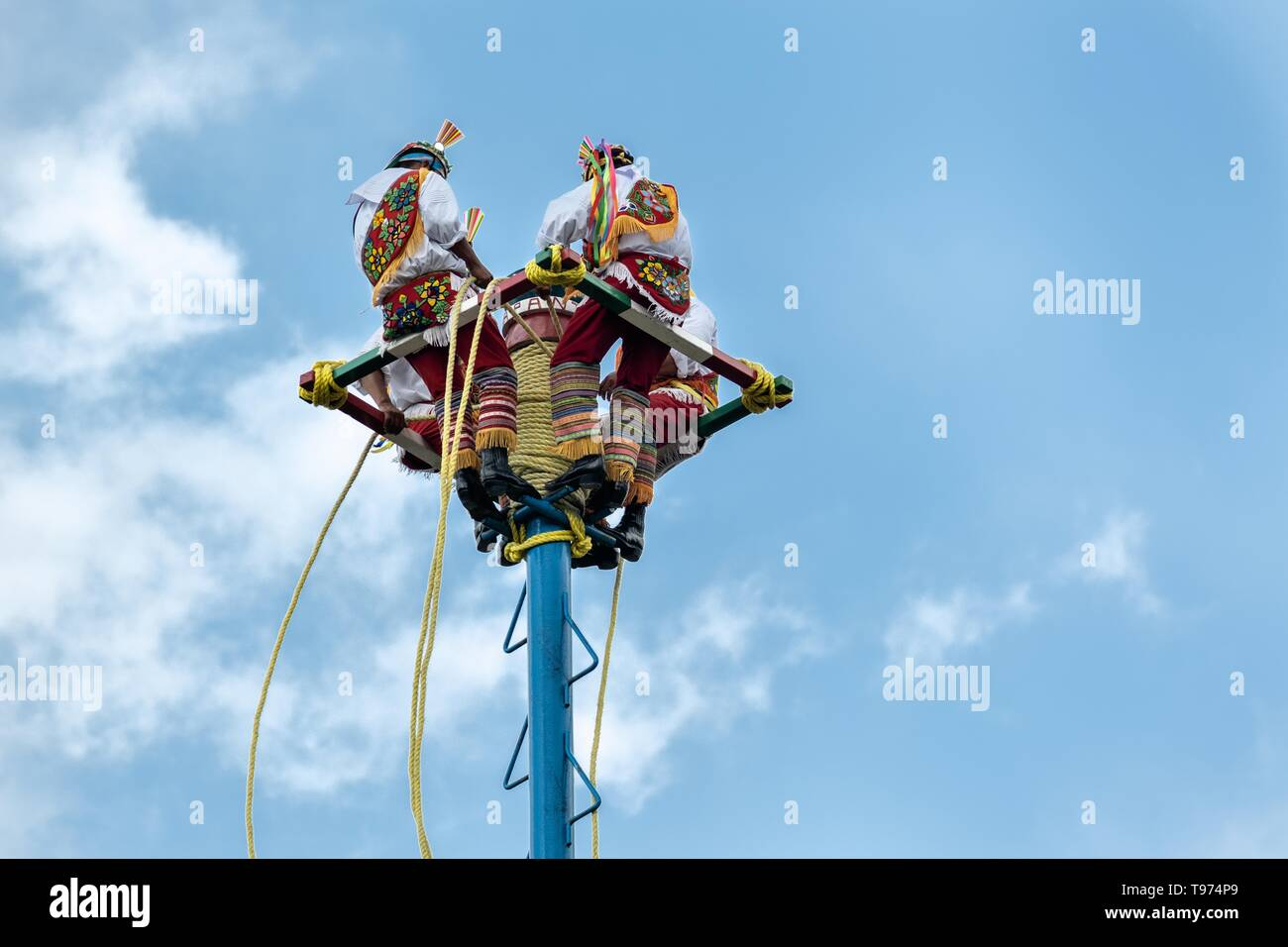 A Voladores position themselves at the top of a thirty-meter pole to perform the sacred ceremonial dance in the Parque Takilhsukut at the pre-Columbian archeological complex of El Tajin in Tajin, Veracruz, Mexico. The Danza de los Voladores is a indigenous Totonac ceremony involving five participants who climb a thirty-meter pole. Four of these tie ropes around their waists and wind the other end around the top of the pole in order to descend to the ground. The fifth participant stays at the top of the pole, playing a flute and a small drum. The ceremony has been inscribed as a Masterpiece of  - Stock Image