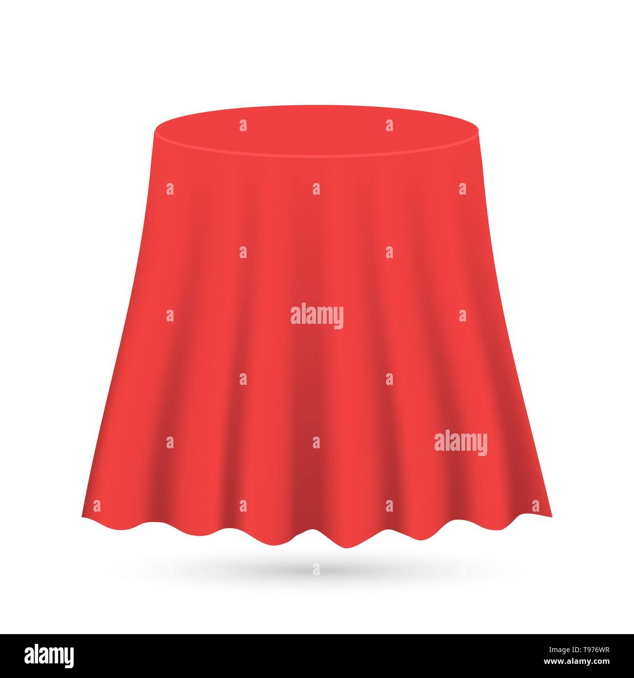 Red silk cloth covered object tablecloth curtain - Stock Image
