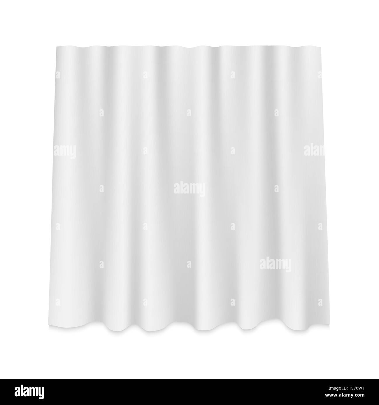 White Hanging silk curtain isolated - Stock Image