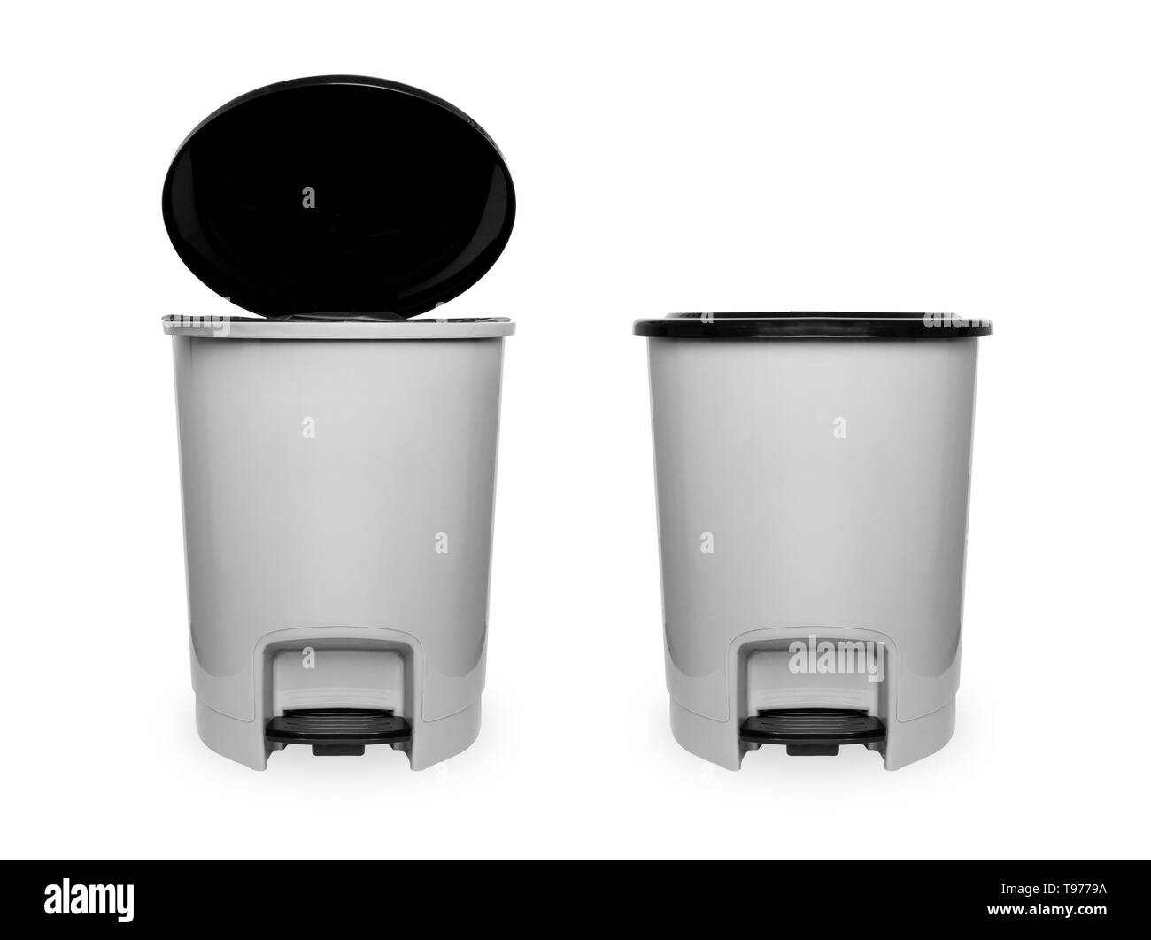 Trash Can with Plastic Black Isolated on white Background with Clipping Path. Beautiful Grey Empty Refuse Bin (Garbage Can) for Clean. Two Plastic. Stock Photo
