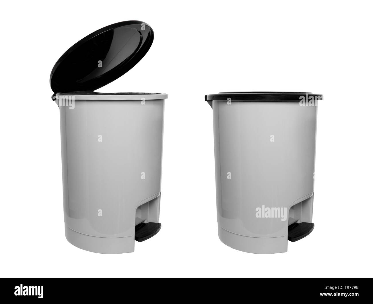 Trash Can with Plastic Black Isolated on white Background with Clipping Path. Left Side View of Grey Empty Refuse Bin (Garbage Can) for Clean. Two. - Stock Image