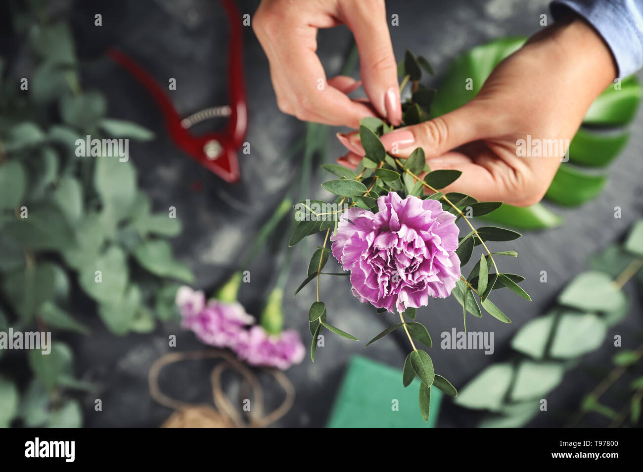 Florist making bouquet of beautiful flowers, closeup - Stock Image
