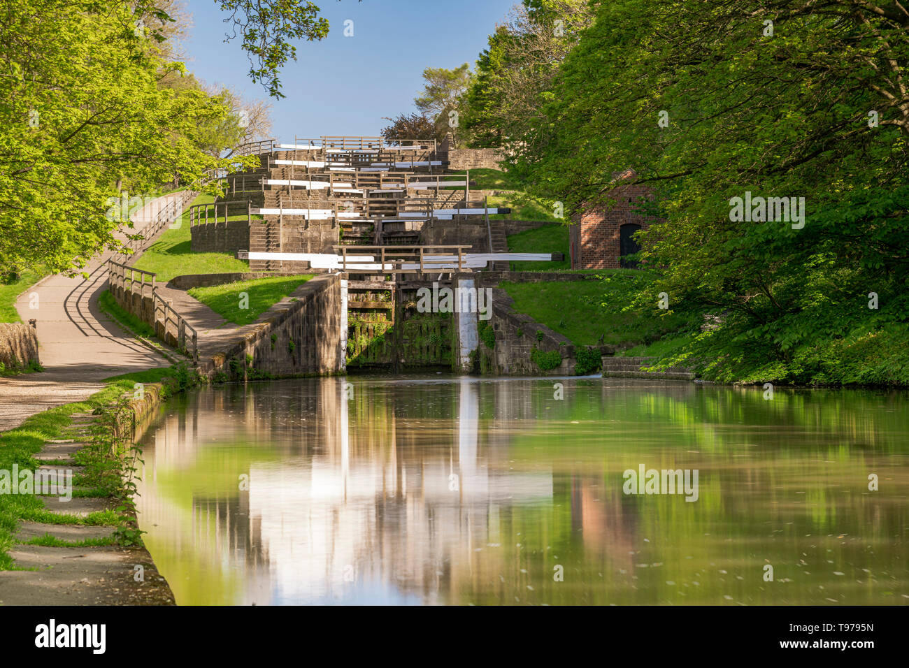 stairsBingley Five Rise Locks on the Leeds and Liverpool canal raise the waterway 60 feet. They were built in 1774. - Stock Image
