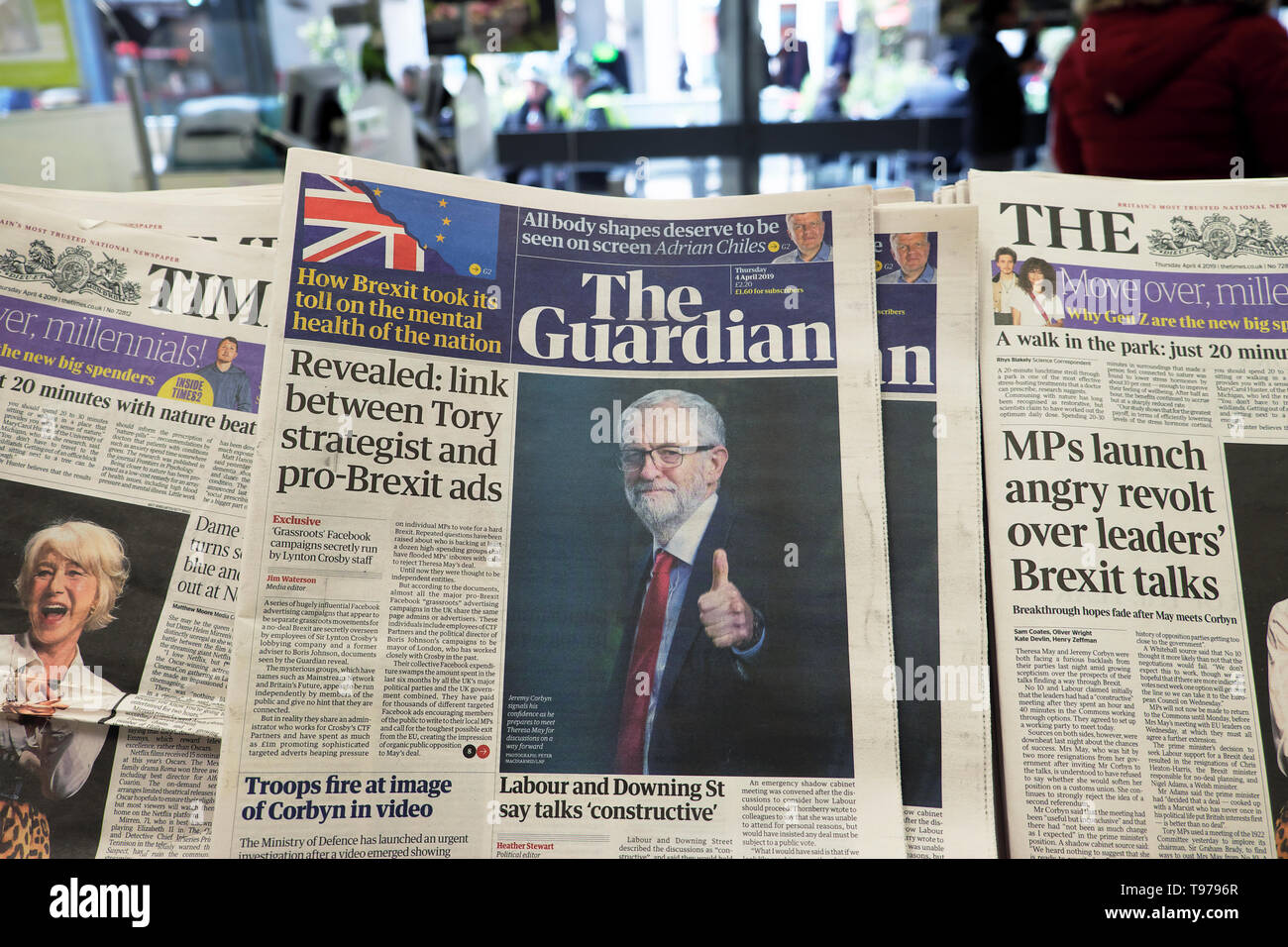 The Guardian newspaper headline 'Revealed: link between Tory strategist and pro-Brexit ads' April 2019 Westminster London England UK  KATHY DEWITT - Stock Image