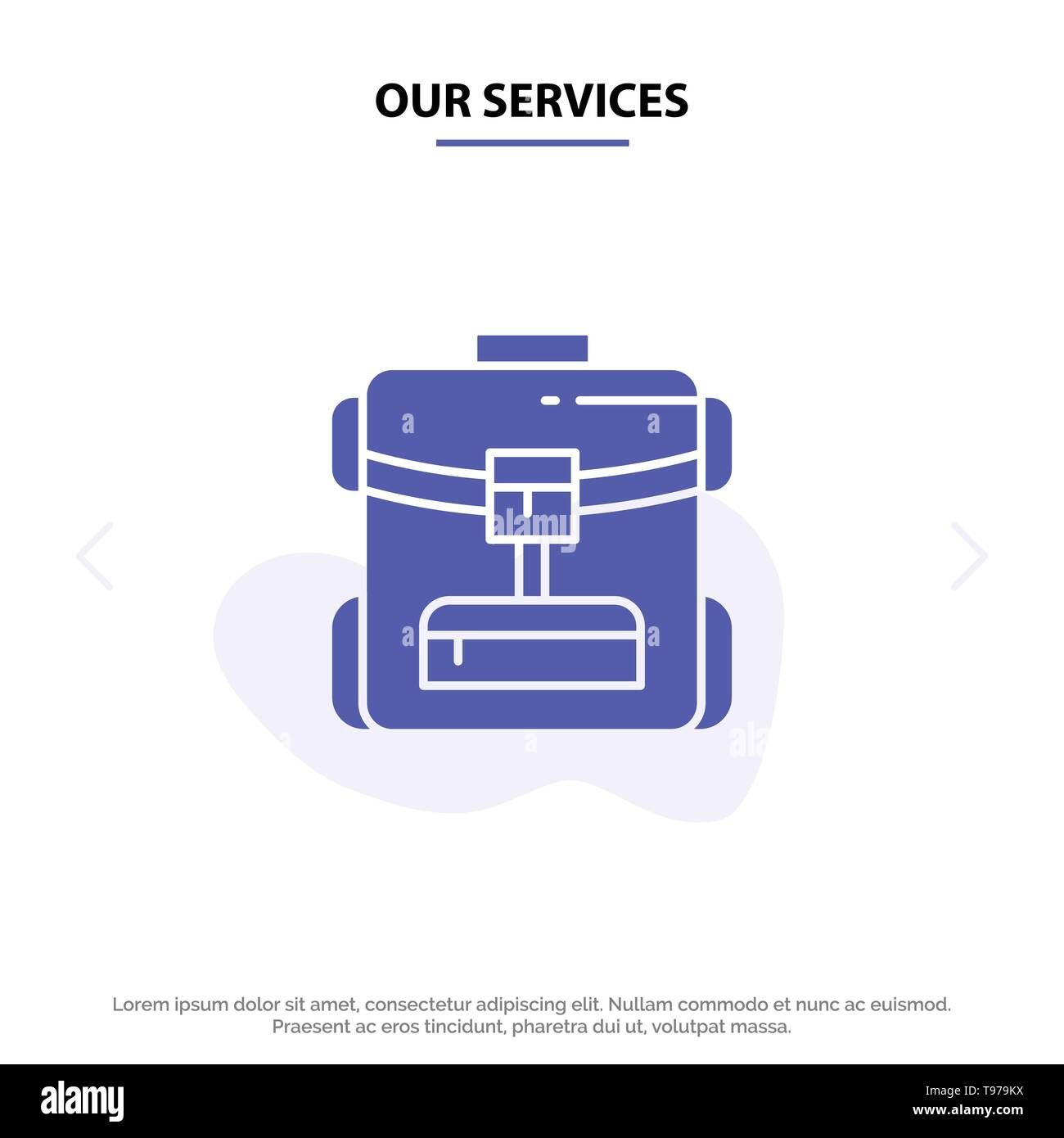 Our Services Bag, Back bag, Service, Hotel Solid Glyph Icon Web card Template - Stock Vector