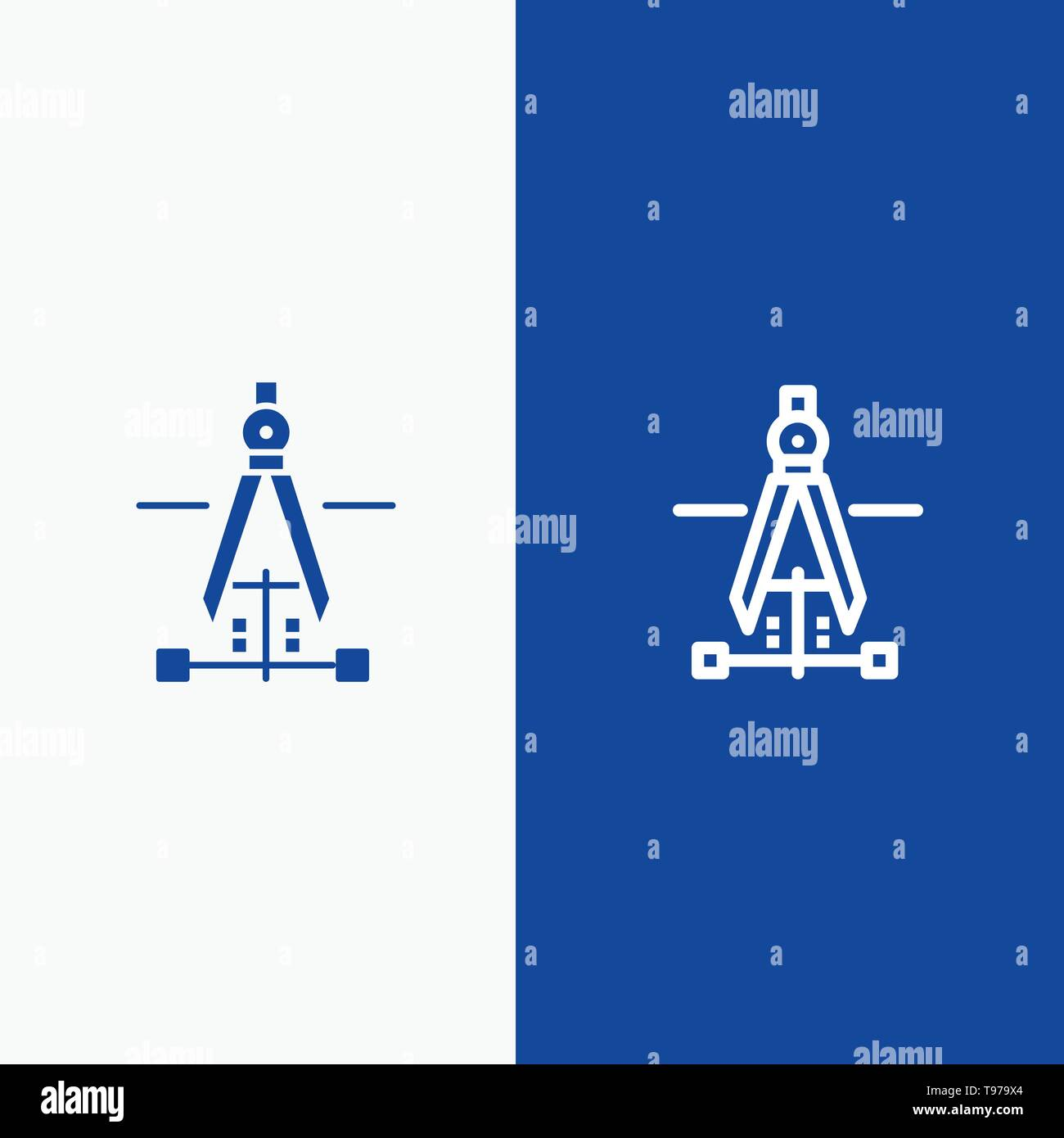 Compass, Drawing, Education, Engineering Line and Glyph Solid icon Blue banner Stock Vector