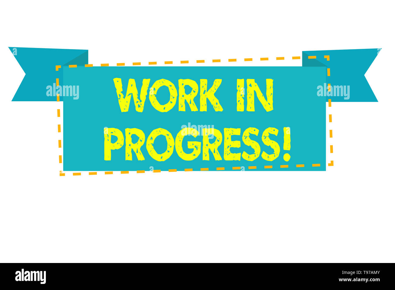 Text sign showing Work In Progress. Business photo text unfinished project that still added to or developed - Stock Image