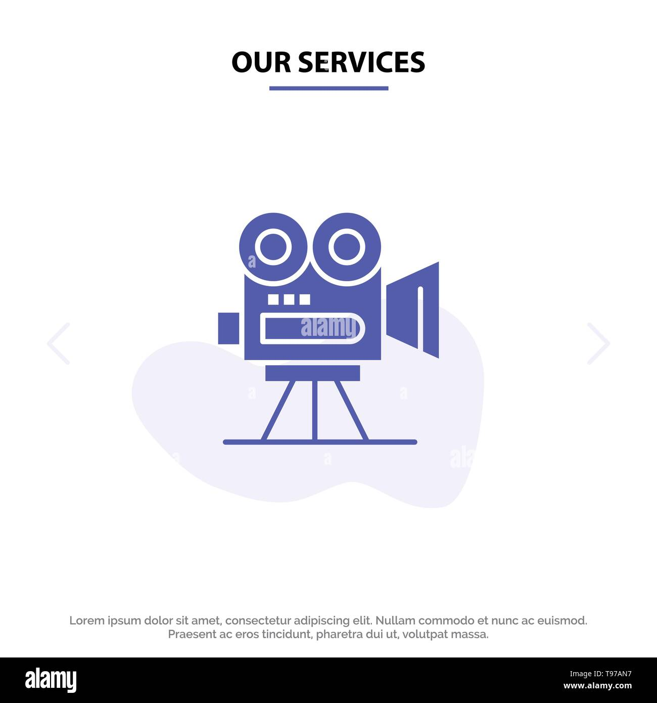 Our Services Camera, Capture, Film, Movie, Professional Solid Glyph Icon Web card Template - Stock Vector