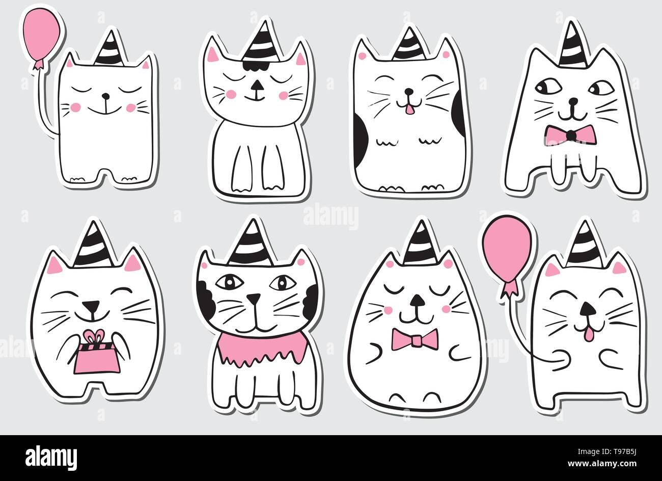 Cute Cats Hand Drawn Stylized Set Of Stickers Outline Doodle Animals Cartoon Characters Vector Illustration Stock Vector Image Art Alamy