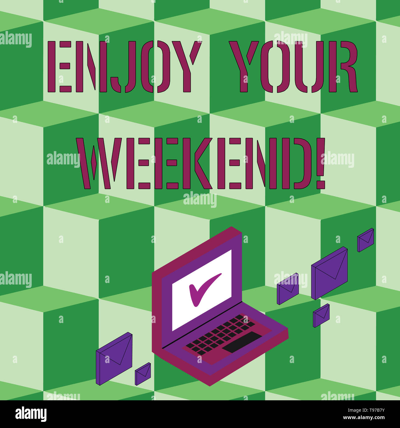 Text sign showing Enjoy Your Weekend. Business photo text wishing someone that something nice will happen at holiday Color Mail Envelopes around Lapto - Stock Image