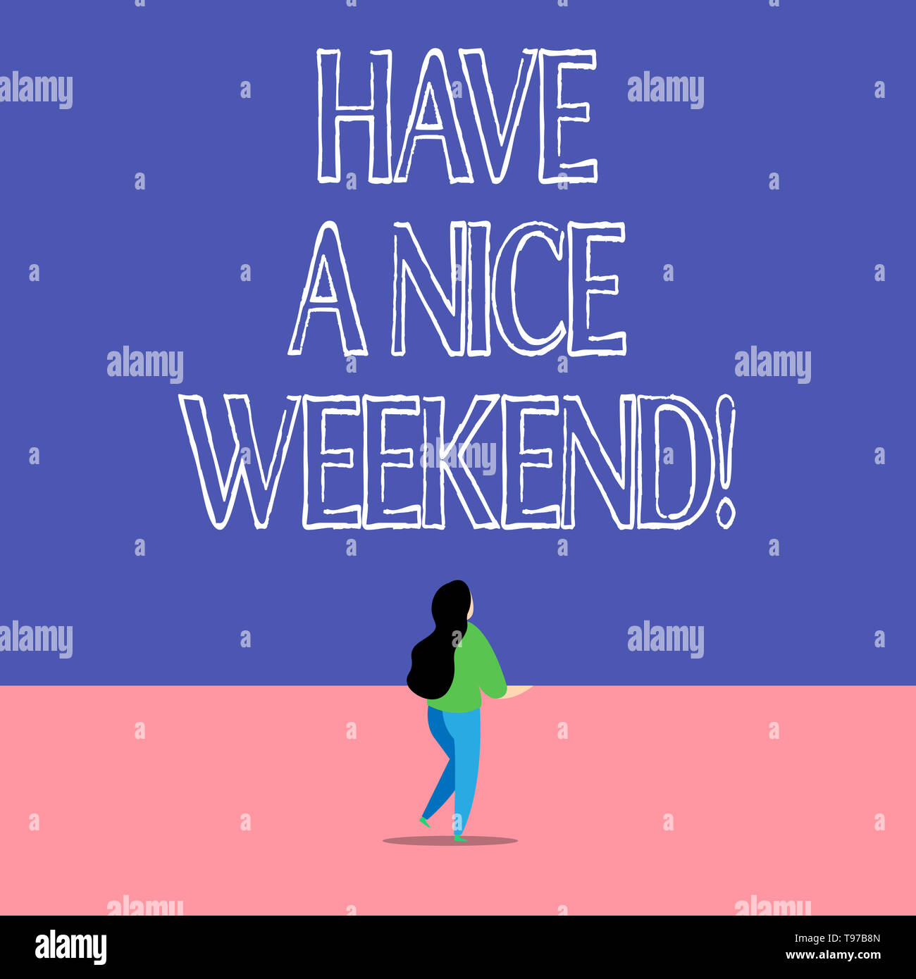 Text sign showing Have A Nice Weekend. Business photo text wishing someone that something nice happen holiday - Stock Image