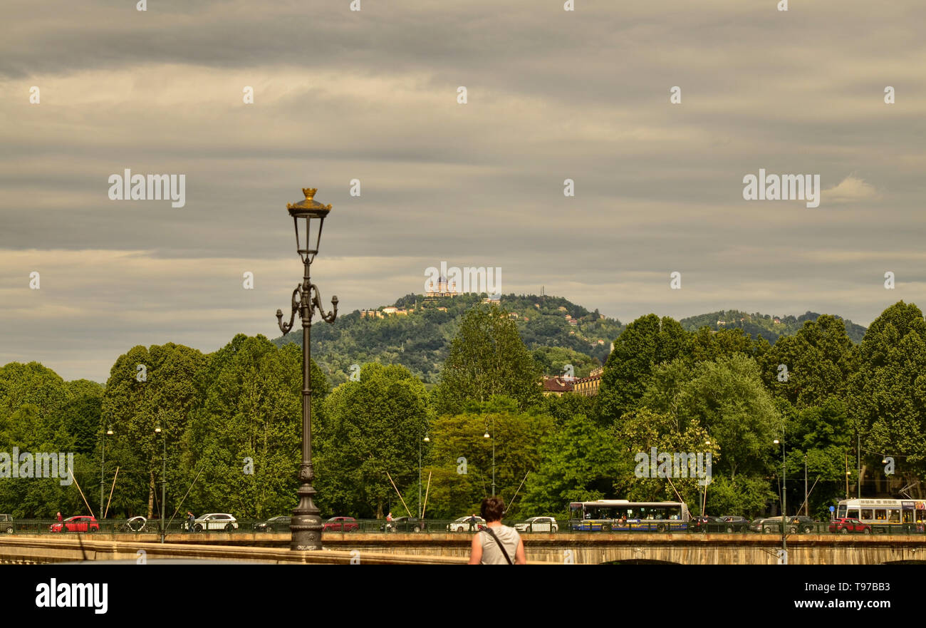 Turin, Piedmont, Italy. May 2019. The Basilica of Superga filmed from Piazza Vittorio. The green hills frame it - Stock Image