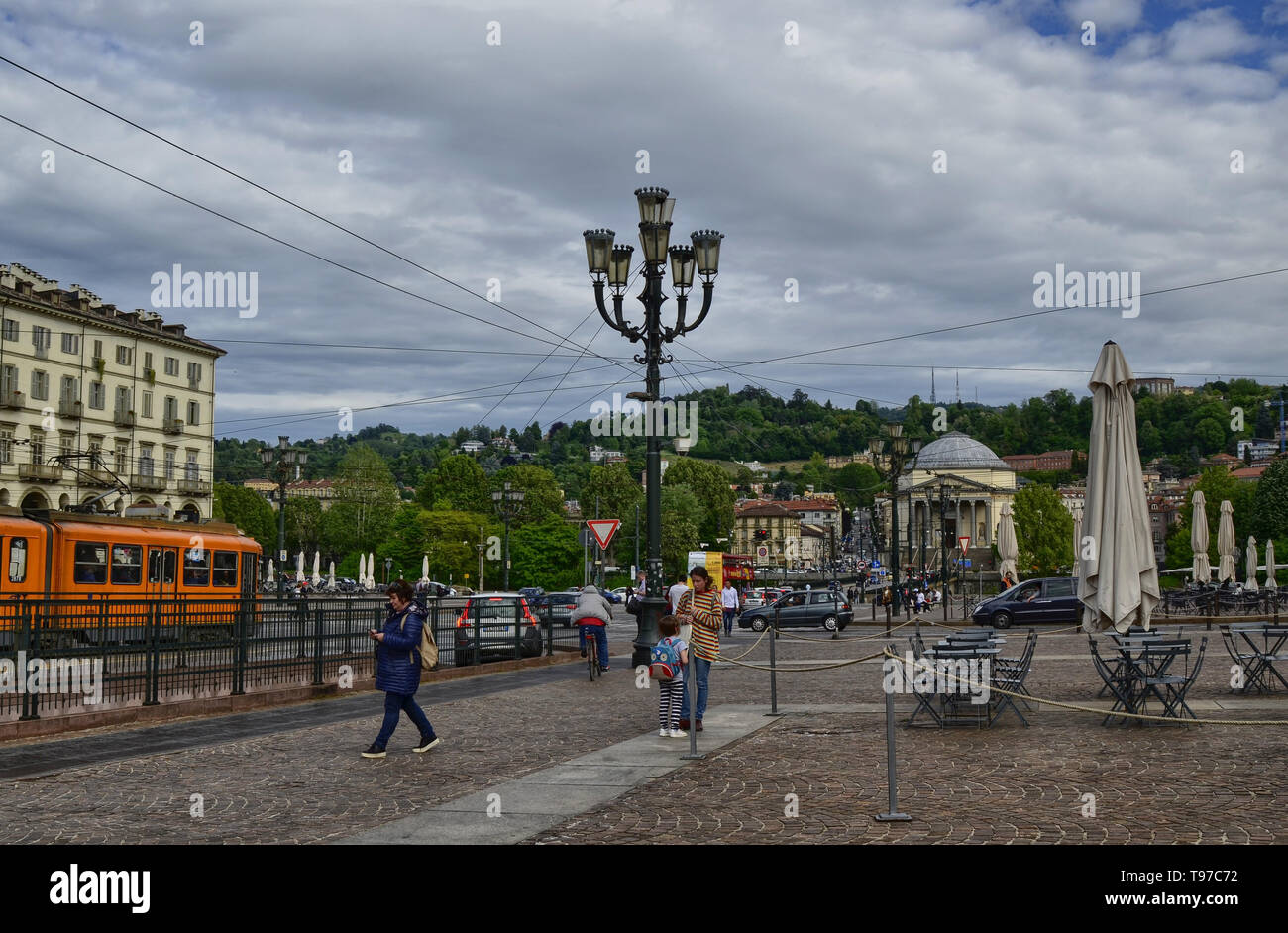 Turin, Piedmont, Italy. May 2019. Piazza vittorio, one of the main squares of the city. It is a meeting place for both day and night. In the backgroun - Stock Image