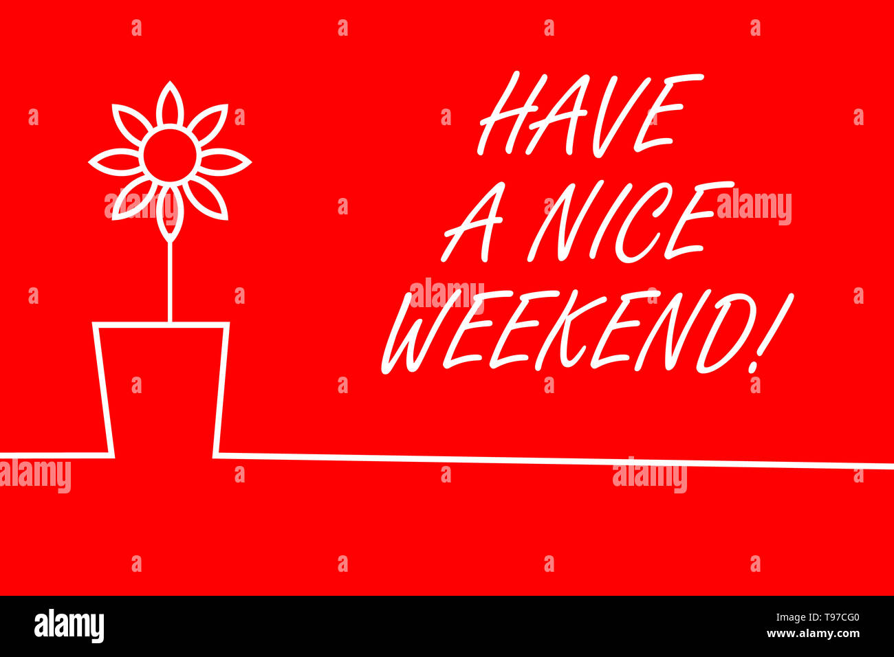 Text sign showing Have A Nice Weekend. Business photo showcasing wishing someone that something nice happen holiday - Stock Image