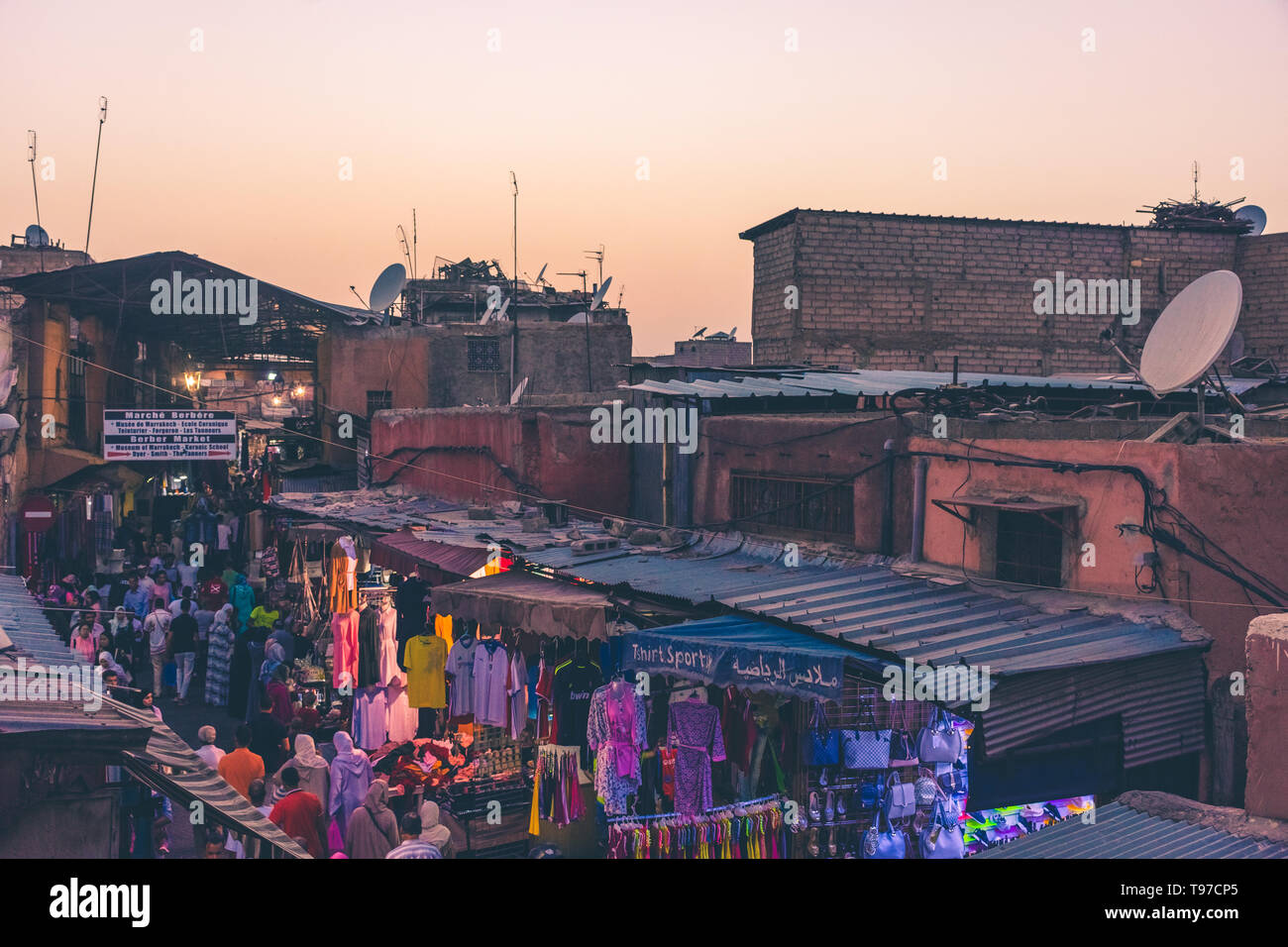 MARRAKECH, MOROCCO, 31 AUGUST 2018: view from above of a crowded market street in Marrakech Stock Photo