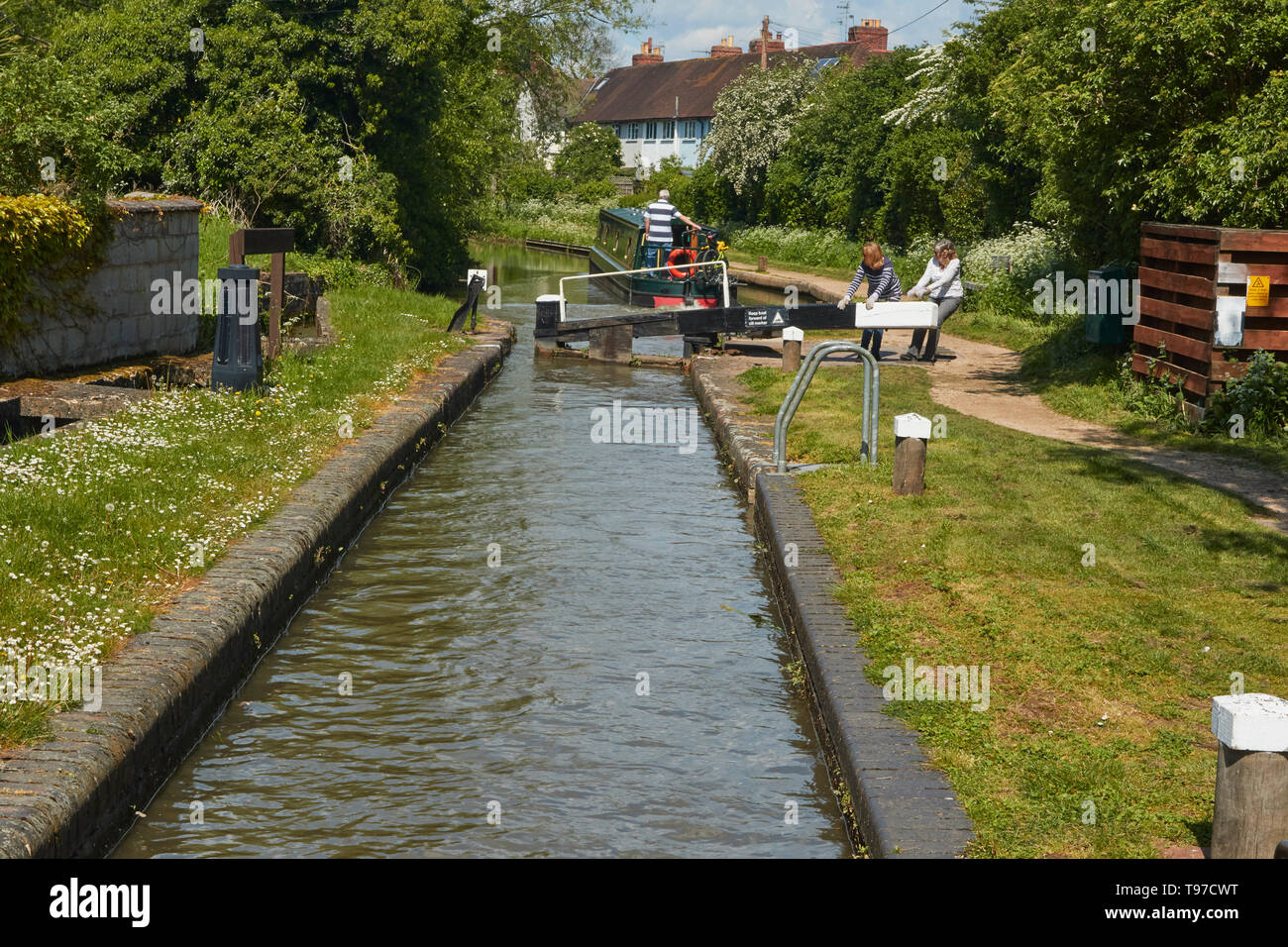 Narrowboat on the Stratford-on-Avon canal near the town centre, Warwickshire, England, United Kingdom, Europe Stock Photo