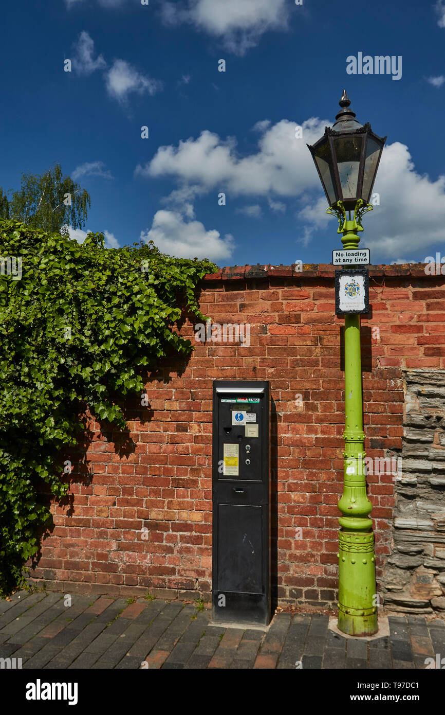Street furniture on a sunny spring day in Stratford-on-Avon, county of Warwickshire, England, United Kingdom, Europe - Stock Image