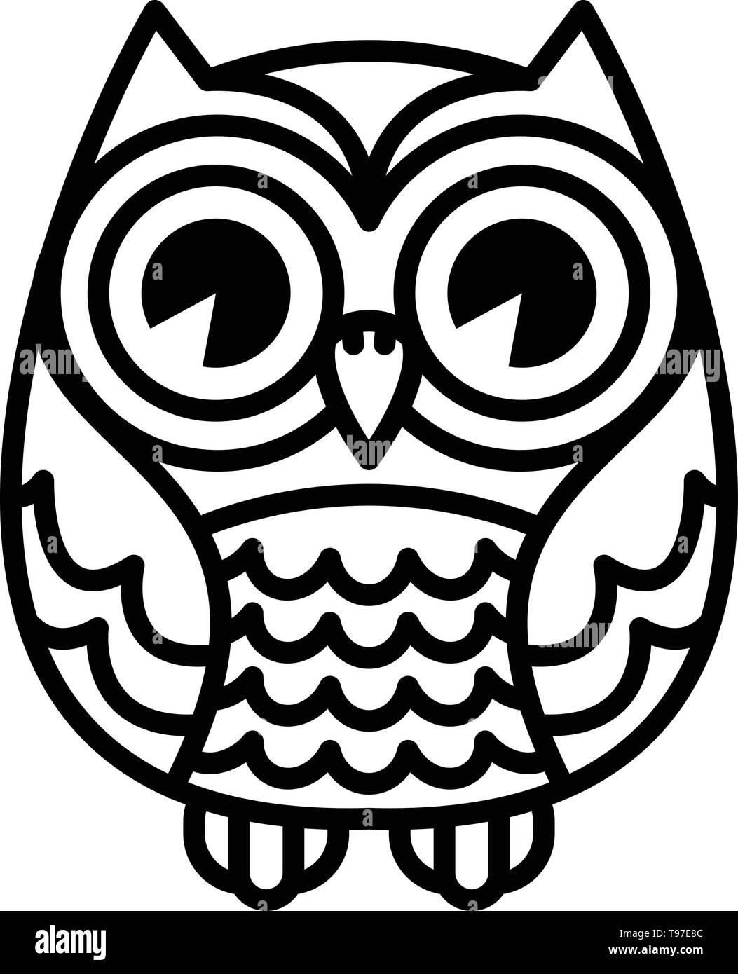 Cute Cartoon Owl Bird With Big Eyes In Sitting Position Stock Vector Image Art Alamy