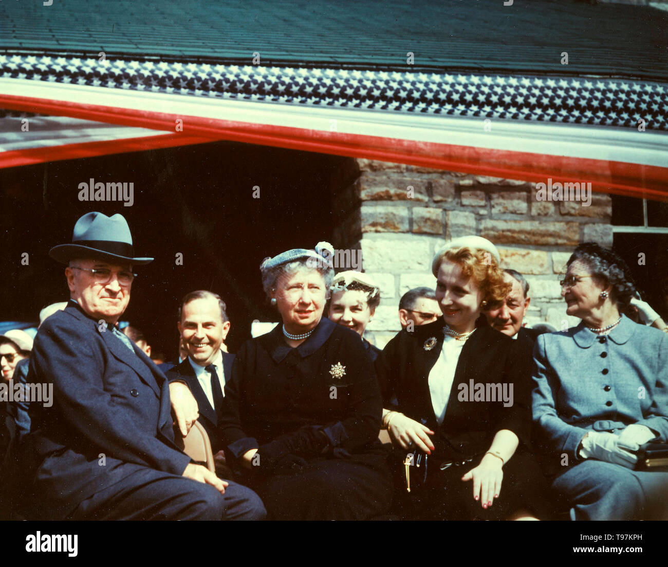 Truman Library Ground Breaking, 05/08/1955 - From left to right, former President Harry S. Truman, Mrs. Bess W. Truman, Margaret Truman, and Mary Jane Truman at the ground breaking ceremonies for the Harry S. Truman Library - Stock Image