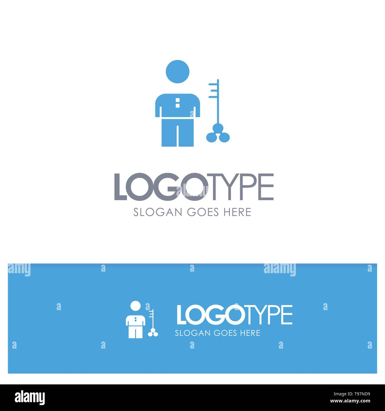 Solution, Key, Lock, Man, Person, Provider, Security Blue Solid Logo with place for tagline - Stock Image