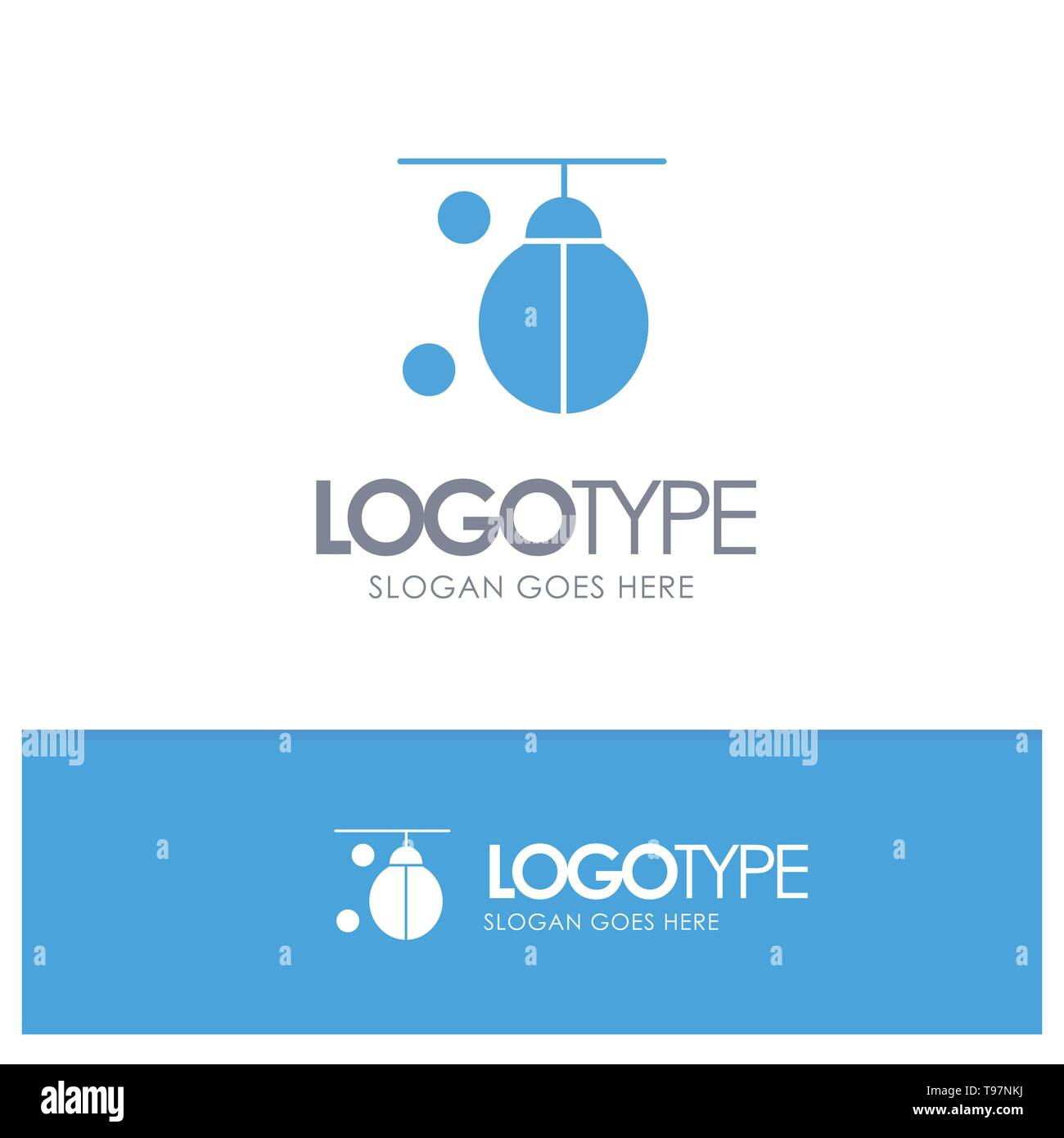 Bag, Boxer, Boxing, Punching, Training Blue Solid Logo with place for tagline - Stock Vector