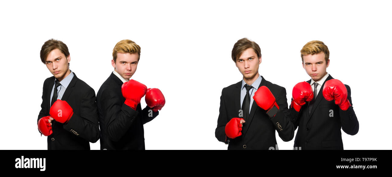Pair of businessmen boxing on white - Stock Image