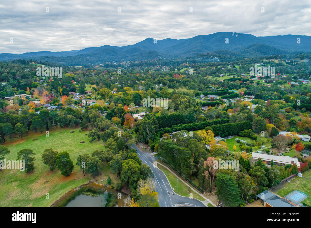 Scenic gree rural area with houses among trees surrounded by mountains in Victoria, Australia - aerial landscape - Stock Image